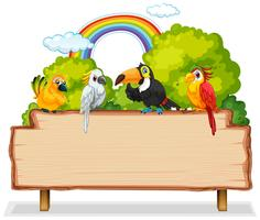 Many bird on wooden banner