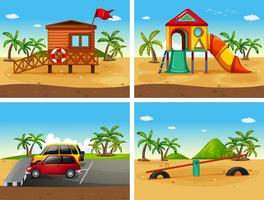 Four beach scenes with different playground and parking