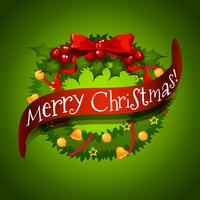 Tarjeta de Navidad con adornos de guirnaldas.