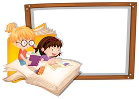 Border template with two girls reading