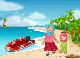 Família muçulmana na praia