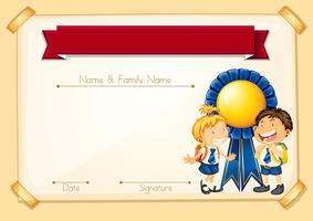 Certificate template with happy students