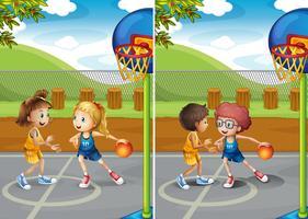 Niños y niñas jugando al baloncesto