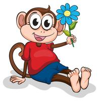 A monkey with a blue flower