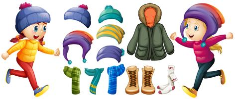 Children and winter clothes set vector