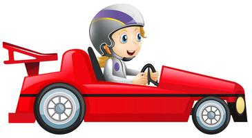Woman driving in red racing car