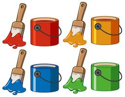 Four color in buckets and paintbrushes