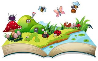 Happy insect on open book