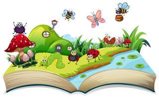 Glückliches Insekt auf offenes Buch