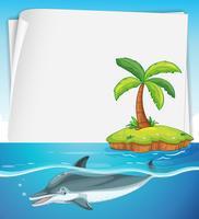 Pappersdesign med delfin i havet
