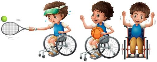 Boy in wheelchair playing tennis and basketball