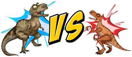Tiranossauro lutando com raptor