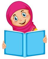 En muslimsk tjej som läser en bok
