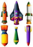 A group of colorful rockets