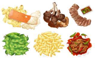 Satz Lebensmittel auf weißem Hintergrund
