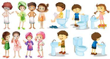 Chicos y chicas en bata de baño.