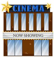 A cinema building on white background
