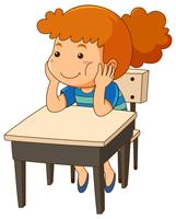 Girl sitting at the desk