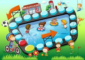 Plantilla de juego con fondo infantil y deportivo.