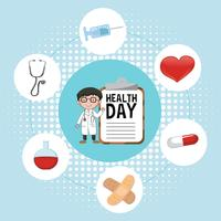 Doctor and medical elements for health day vector