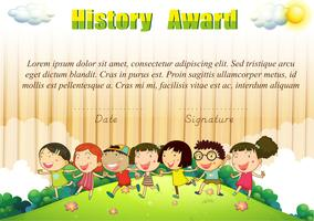 History award template with children in the park
