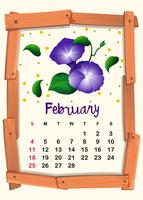 Calendar template for February with morning glory