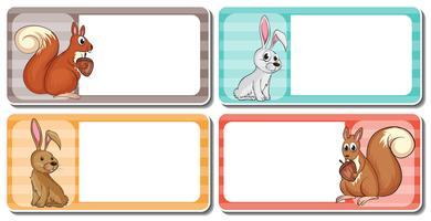 Diseño de etiquetas con lindos animales.