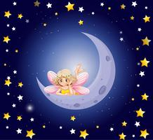 Cute fairy and the moon in the sky