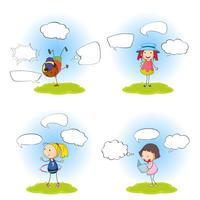 Set of kids with speech balloon
