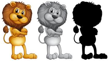 Ensemble de lion debout