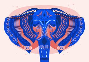Painted Head Elephant Festival Vector Flat Illustration