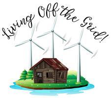 Casa de madeira na ilha com moinho de vento