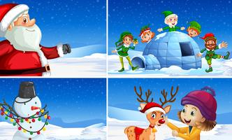 Conjunto de cenas de natal neve