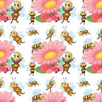 Abejas sin costura volando alrededor de las flores