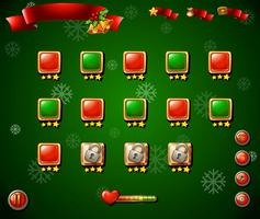 Game template with christmas theme in green vector