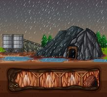 A Stone Mine in Rainy Day