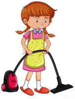Girl vacuuming floor with vacuum cleaner