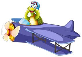 Turtle riding vintage airplane vector