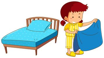 Girl making bed on white background