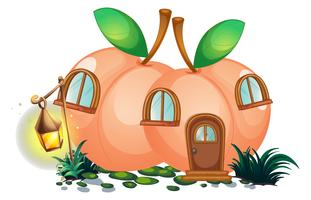Peach house with lantern in garden