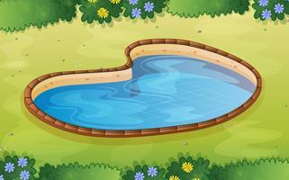 A pond in the garden vector