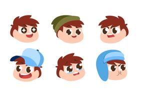 Children Boy Head Character Emotion Set Vector Flat Illustration