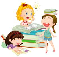 Filles lisant un livre