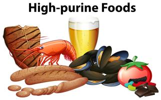 Un grupo de comida de alta purina