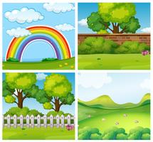 Quatro cenas de parques verdes