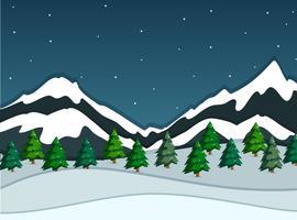 Uma paisagem de montanha de neve