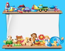 Plantilla de papel con juguetes en estantes