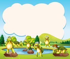 Gelukkige schildpad bij de vijversjabloon