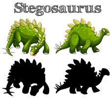 Two stegosaurus on white background
