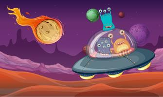 Space theme with aliens in UFO landing on planet